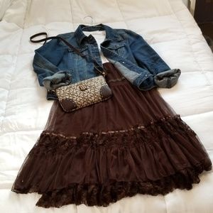 NWT Brown tulle and lace midi skirt